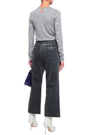 MARC JACOBS Faux leather-trimmed cotton-corduroy kick-flare pants