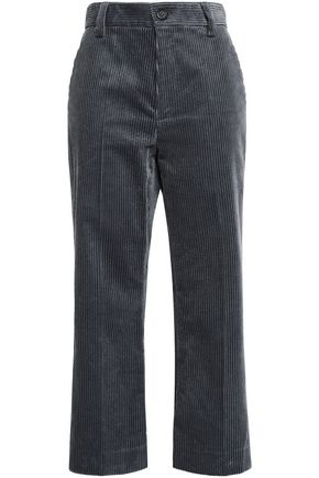 MARC JACOBS Faux leather-trimmed cotton-corduroy kick-flare pants