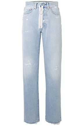 OFF-WHITE™ Distressed high-rise straight-leg jeans