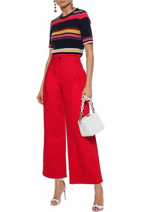 VALENTINO Pleated high-rise wide-leg jeans