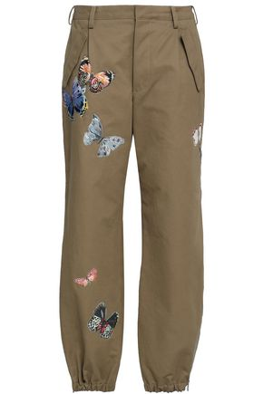 VALENTINO Embroidered cotton-twill tapered pants