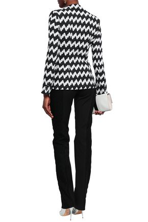 MISSONI Paneled woven and crochet-knit slim-leg pants