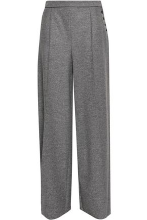 VALENTINO Button-detailed mélange wool-felt wide-leg pants