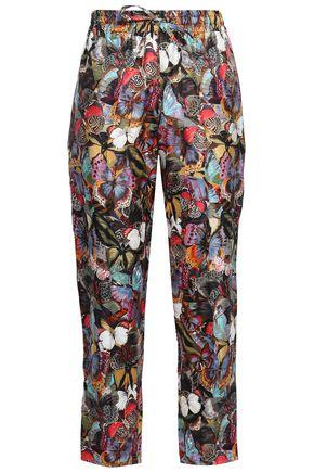 VALENTINO Printed silk-twill tapered pants