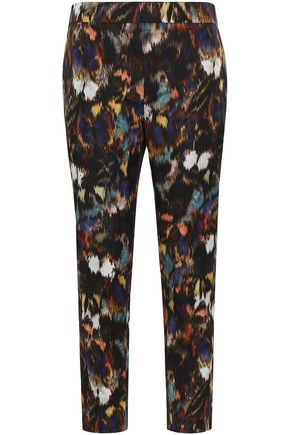 VALENTINO Printed cotton and silk-blend tapered pants