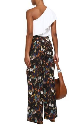 VALENTINO Printed cotton and silk-blend wide-leg pants