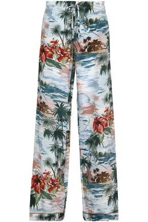VALENTINO Printed silk crepe de chine wide-leg pants
