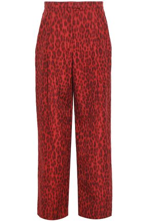 VALENTINO Leopard-print cotton and silk-blend wide-leg pants