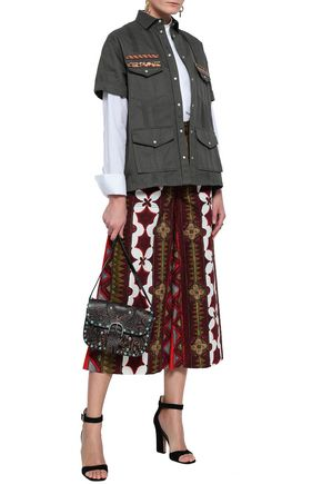 VALENTINO Printed cotton and linen-blend culottes