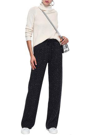 VALENTINO Herringbone wool and cashmere-blend wide-leg pants