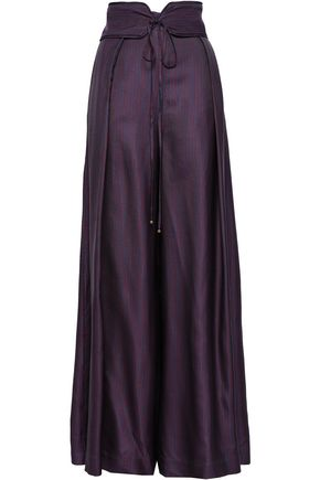 ZIMMERMANN Belted striped twill wide-leg pants