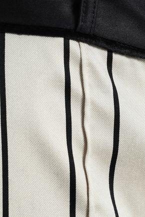 ZIMMERMANN Cropped striped cotton-blend satin wide-leg pants