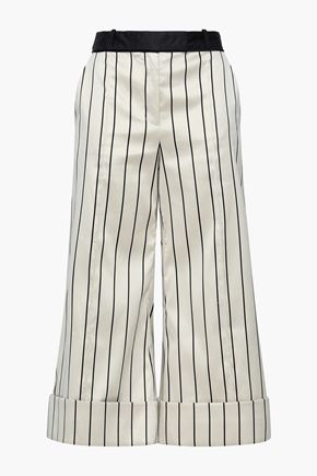 ZIMMERMANN Cropped striped cotton-blend satin wide-leg pants