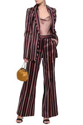 ZIMMERMANN Striped cotton-blend sateen bootcut pants