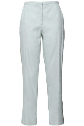 NINA RICCI Satin-trimmed linen-blend twill tapered pants