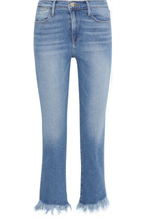FRAME Le High frayed high-rise slim-leg jeans