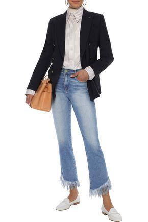 FRAME Le High frayed high-rise slim-leg jeans