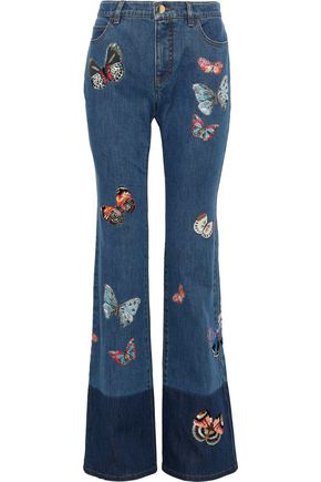 VALENTINO GARAVANI Embroidered two-tone mid-rise bootcut jeans