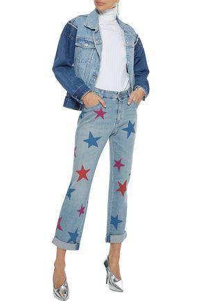 STELLA McCARTNEY Cropped printed high-rise straight-leg jeans