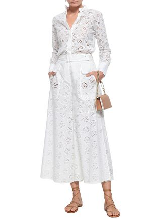 VALENTINO Broderie anglaise cotton-blend wide-leg pants