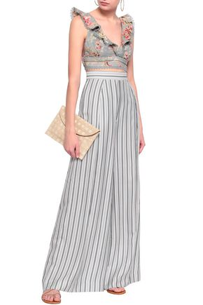 ZIMMERMANN Pleated striped twill wide-leg pants