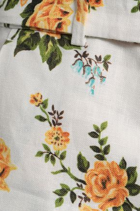 ZIMMERMANN Golden belted floral-print linen kick-flare pants