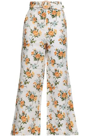 ZIMMERMANN Golden belted floral-print linen kick-flare pants