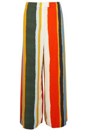 TORY BURCH Striped twill wide-leg pants