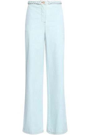 VALENTINO GARAVANI Braid-trimmed high-rise wide-leg jeans