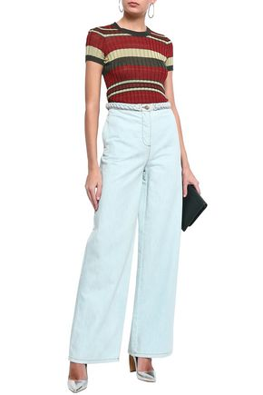VALENTINO Braid-trimmed high-rise wide-leg jeans