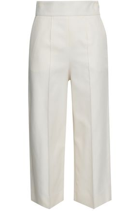 VALENTINO Cropped cotton and silk-blend wide-leg pants