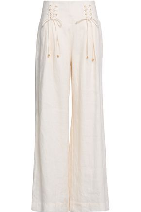 ZIMMERMANN | Zimmermann Lace-Up Linen Wide-Leg Pants | Goxip