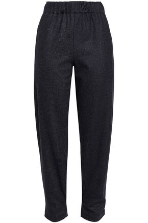 TIBI Pinstriped wool and cotton-blend tapered pants