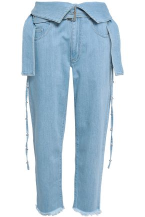 MARQUES' ALMEIDA Embellished frayed denim straight-leg pants