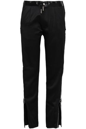 MARQUES' ALMEIDA Zip-detailed wool-sateen straight-leg pants