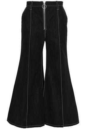 MARQUES' ALMEIDA Zip-detailed moire kick-flare pants