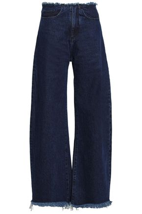 MARQUES' ALMEIDA Frayed high-rise wide-leg jeans
