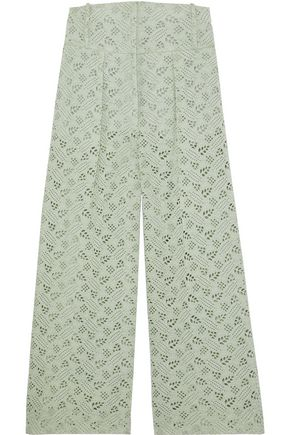 VALENTINO Broderie anglaise cotton wide-leg pants