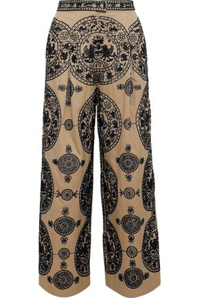 VALENTINO Bead-embellished cotton-twill wide-leg pants