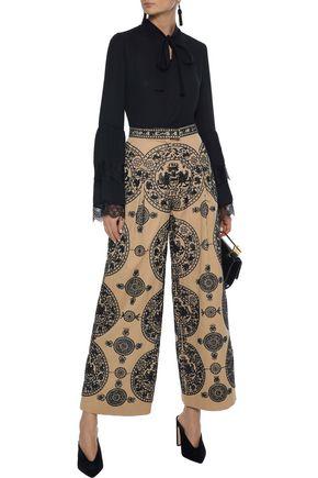 VALENTINO Bead-embellished cotton-twill wide-leg pants