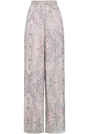 ZIMMERMANN Printed flocked silk-blend wide-leg pants