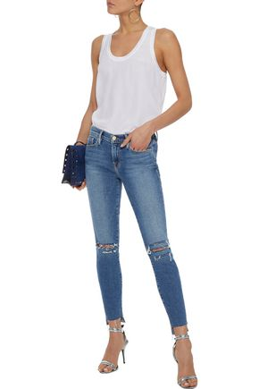 FRAME Le Skinny distressed mid-rise skinny jeans