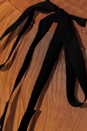 HAIDER ACKERMANN Velvet-trimmed crinkled silk crepe de chine track pants