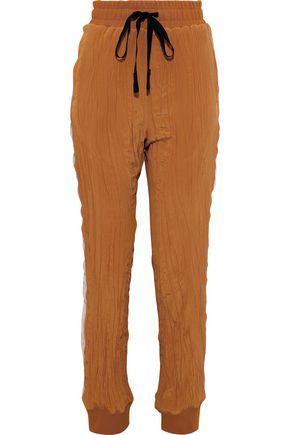 Haider Ackermann Woman Velvet-trimmed Crinkled Silk Crepe De Chine Track Pants Tan Size XS