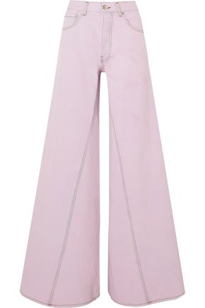GANNI Denim high-rise wide-leg jeans