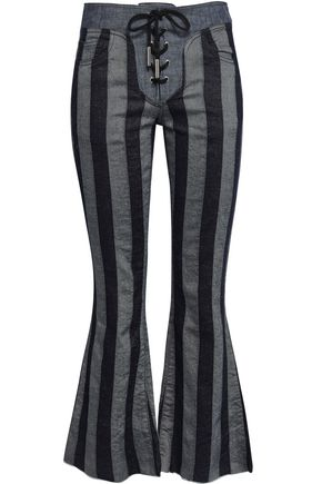 MARQUES' ALMEIDA Lace-up cotton and linen-blend jacquard flared pants