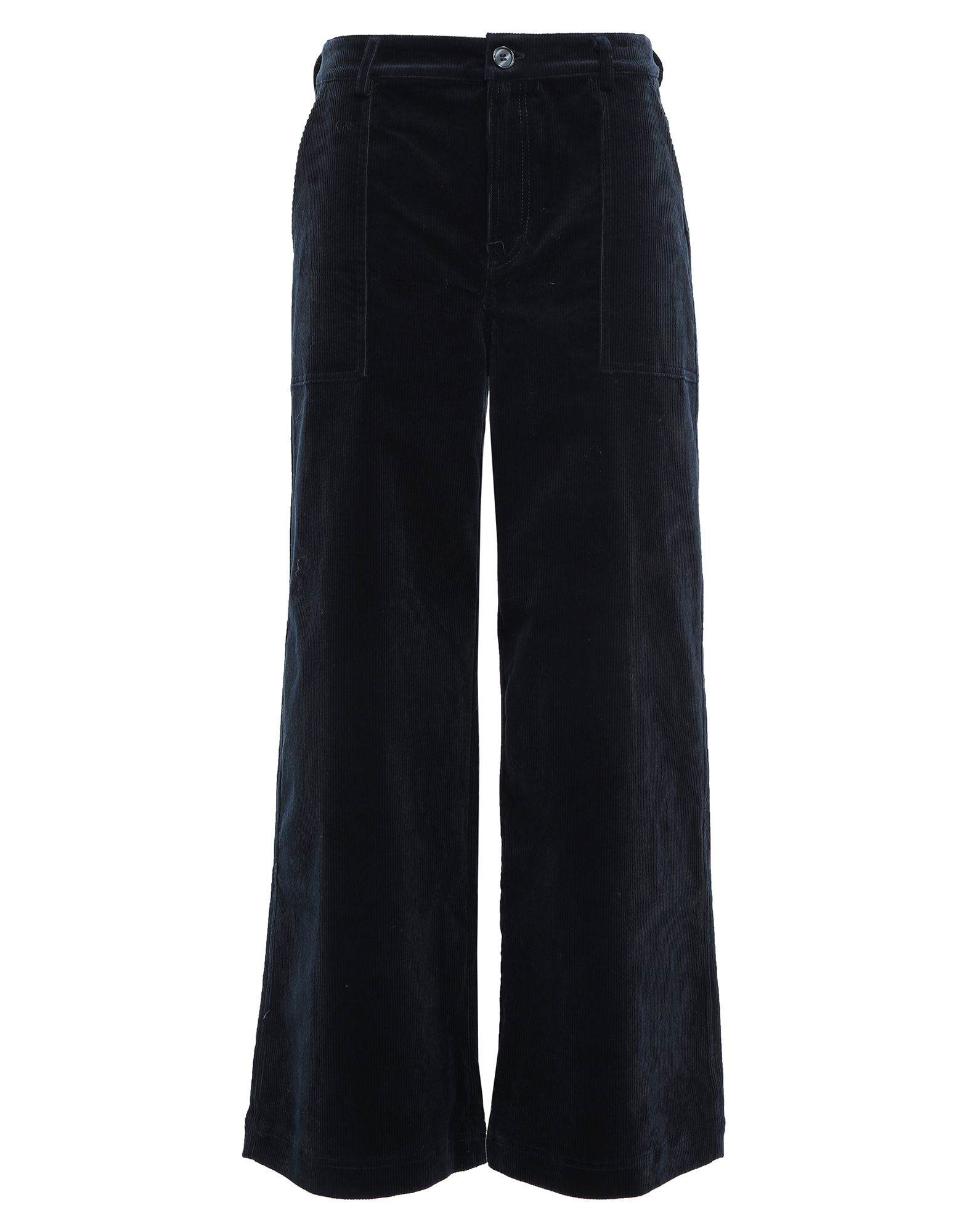 GANNI Casual pants. velvet, ribbed, no appliqués, basic solid color, high waisted, regular fit, flare & wide-leg, button, zip, multipockets, stretch, pants. 98% Cotton, 2% Elastane