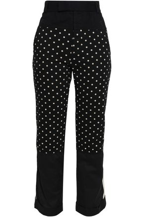 HAIDER ACKERMANN Polka-dot cotton-jersey, twill and poplin straight-leg pants