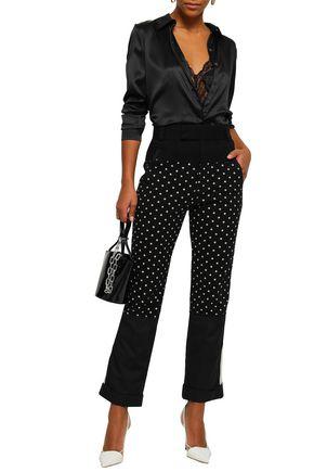 HAIDER ACKERMANN Polka-dot cotton-jersey, twill and poplin straight-leg pants