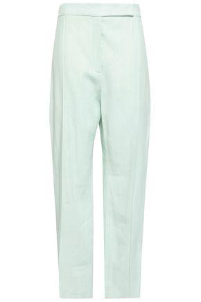 NINA RICCI Satin-trimmed linen and wool-blend wide-leg pants